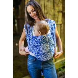 Echarpe de portage en coton bio Mandala Bleu Royal