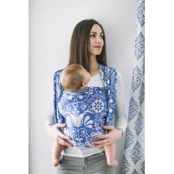 Echarpe de portage en coton bio Folk Blue