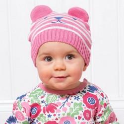 Bonnet coton bio Ourson Rose