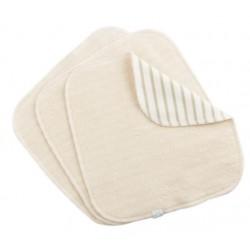 Lot de 3 lingettes lavables coton bio Rayures