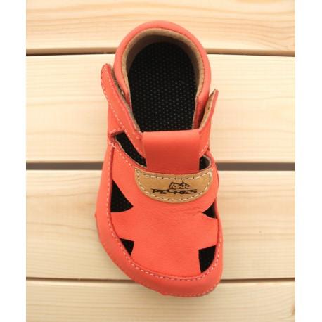Sandales Barefoot Cuir Souples Corail
