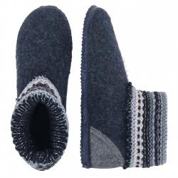 Chaussons laine Kiel Bleu