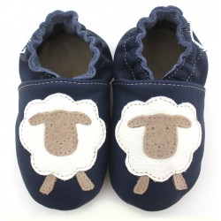 Chaussons Cuir Souple Mouton navy