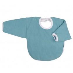 Bavoir coton bio avec manches Bleu Vintage
