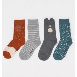 Coffret 4 paires chaussettes bambou Animaux