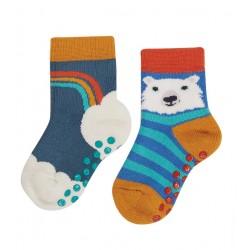 Lot 2 paires chaussettes antidérapantes Ourson