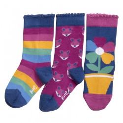 Lot 3 paires chaussettes coton bio Flower