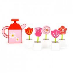 Set de fleurs et arrosoir bois