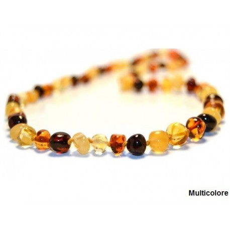 Collier en ambre adulte multicolore