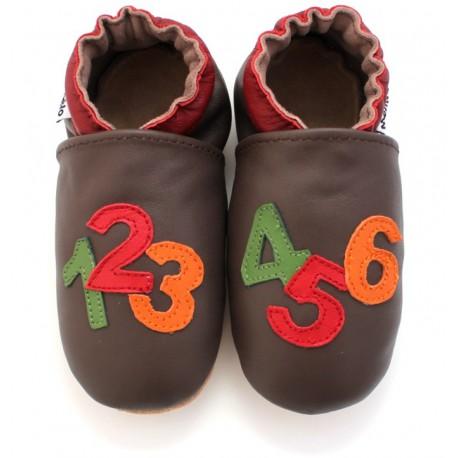 chaussons en cuir souple chiffre