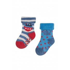 Lot 2 paires chaussettes coton bio Eté 0-6 Mois