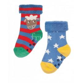 Lot 2 paires chaussettes coton bio 0-6 Mois