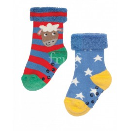 Lot 2 paires chaussettes coton bio Bleues