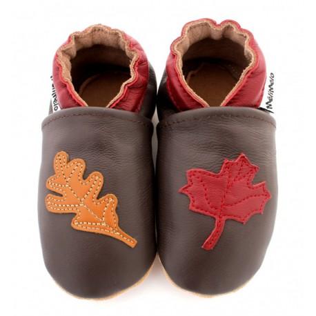 chaussons en cuir souple automne