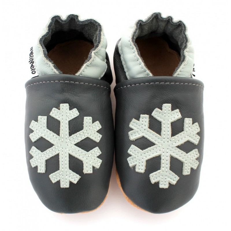 chaussons en cuir souple flocon de neige. Black Bedroom Furniture Sets. Home Design Ideas