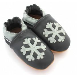 chaussons en cuir souple flocon de neige
