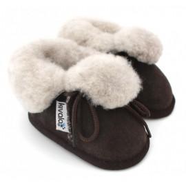 pantoufles bébé en peau de mouton ebene