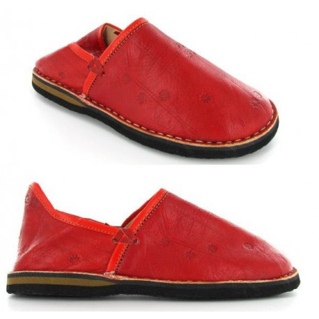 babouches cuir rouge
