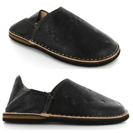 babouches cuir berbere noir