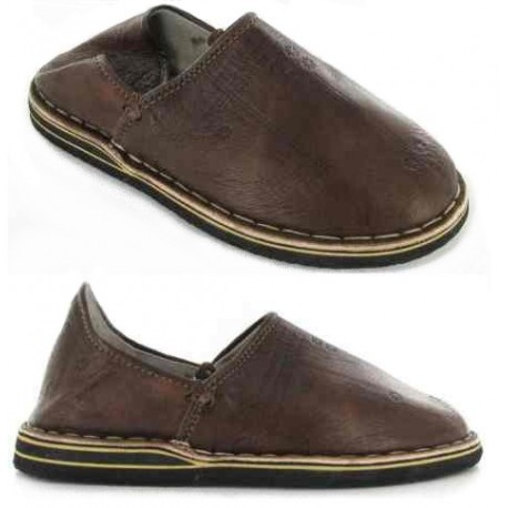 Babouches Cuir Marrons