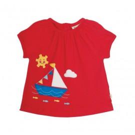 Top bateau en coton bio rouge bébé fille