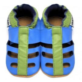 Sandales Cuir Souple Bleu Vert