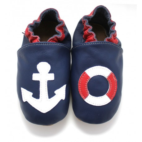 Chaussons Cuir Souple ancre marine