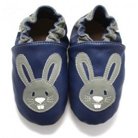 Chaussons cuir souple Lapin bleu