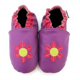 Chaussons Cuir Souple Flower