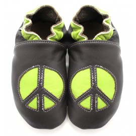 Chaussons Cuir Souple Peace and Love