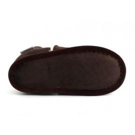 chaussons en cuir souple fourrés marron foncé