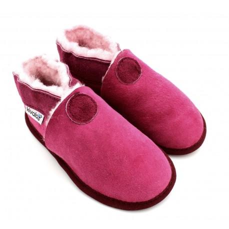 chaussons souples fourrés laine fuchsia