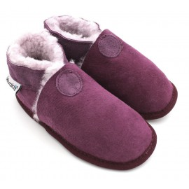 Chaussons souples fourres laine Perfection Prune