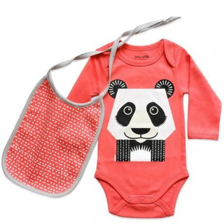Set cadeau body + bavoir Panda