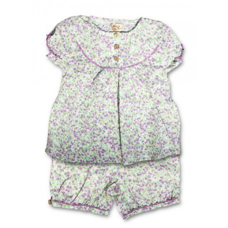 Ensemble blouse + bloomer coton bio