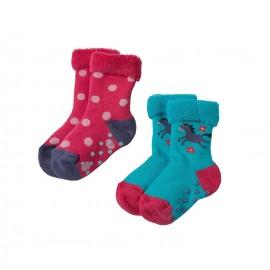 Lot 2 paires chaussettes coton bio Anti-dérapantes 0-6 Mois