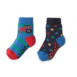 Lot 2 paires chaussettes coton bio Tracteur 0-6 Mois