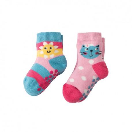 Lot 2 paires de chaussettes coton bio Soleil & chat