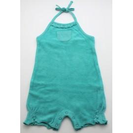 Barboteuse coton bio éponge turquoise