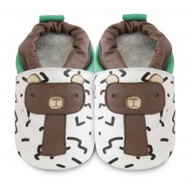 Chaussons souples cuir Barry the bear
