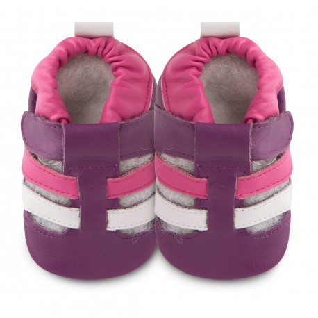 Chaussons souples cuir plum pudding