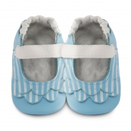 Chaussons souples cuir Seaside stripes
