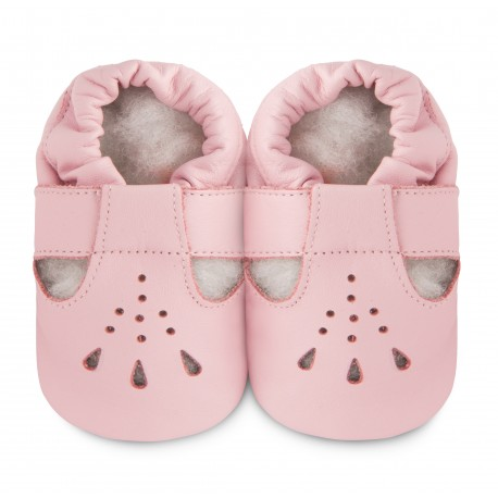 Chaussons souples cuir pink rain lily