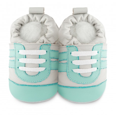Chaussons souples cuir Aquamarine