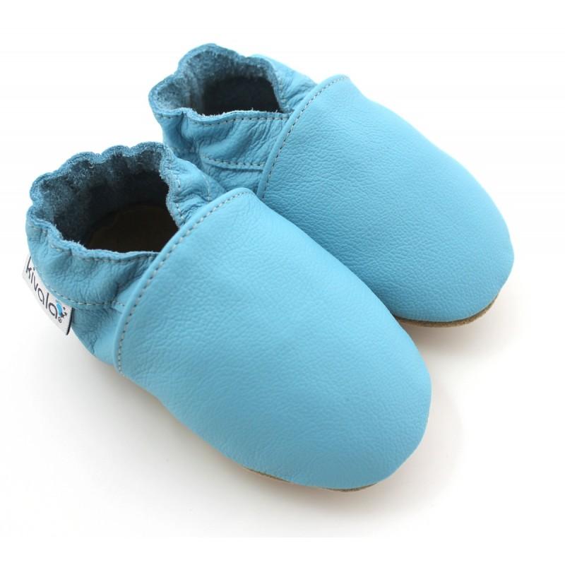 chaussons cuir souple bleu ciel. Black Bedroom Furniture Sets. Home Design Ideas
