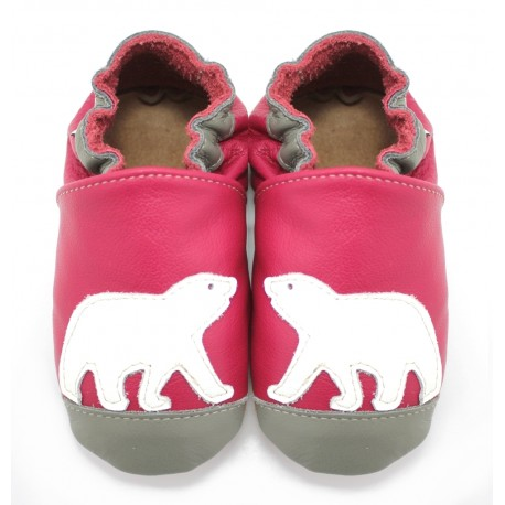 Chaussons cuir souple Ours Polaire Rose