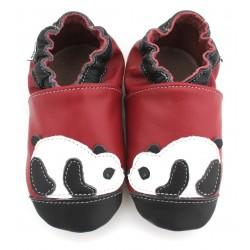 Chaussons cuir souple Panda bordeau noir