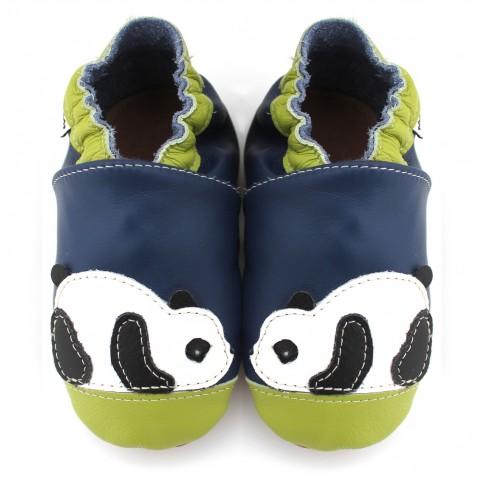 Chaussons cuir souple Panda bleu vert