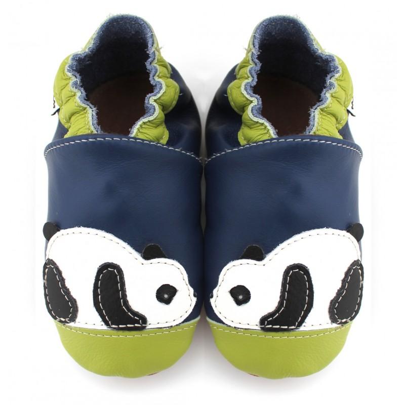 1d4e8b576db5d Chaussons cuir souple Panda bleu vert - Vente en ligne MéliMélobio