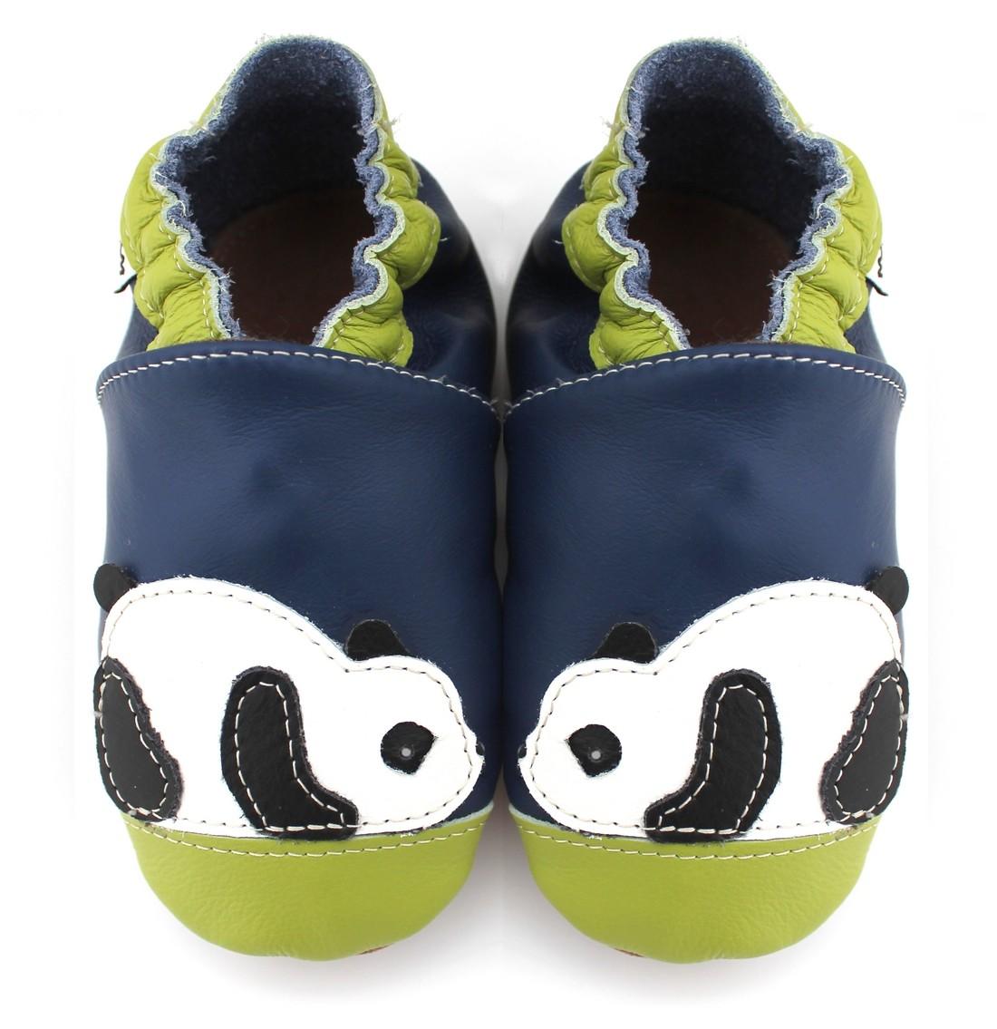 854e4965da534 Chaussons cuir souple Panda bleu vert - Vente en ligne MéliMélobio